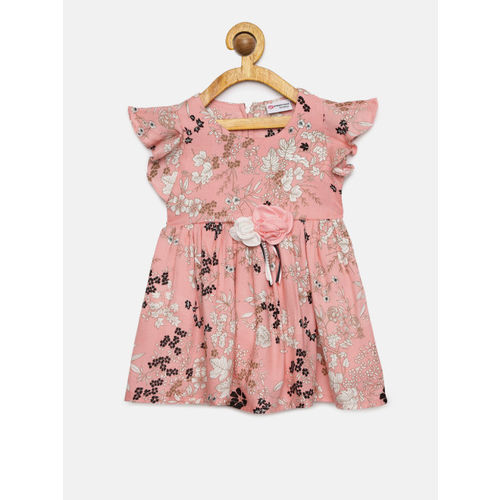 Peppermint Girls Peach-Coloured & White Printed Fit and Flare Dress