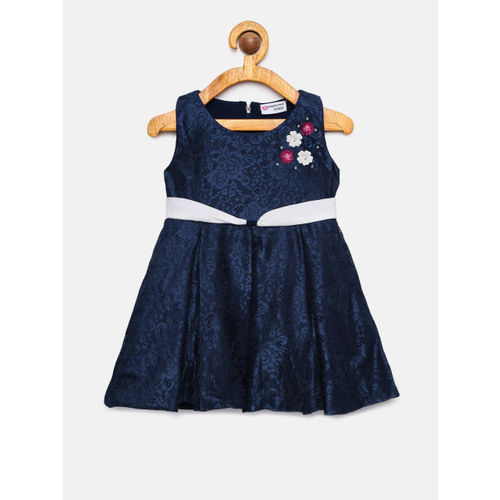 Peppermint Girls Navy Blue Self Design Fit and Flare Dress