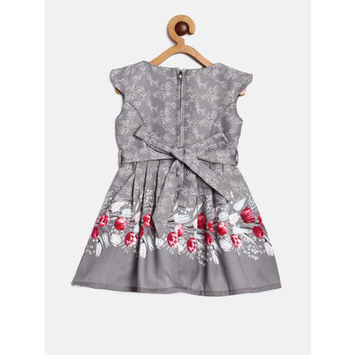 Peppermint Girls Grey & Pink Printed Fit and Flare Dress