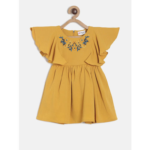 Peppermint Girls Mustard EmbroideredFit and Flare Dress