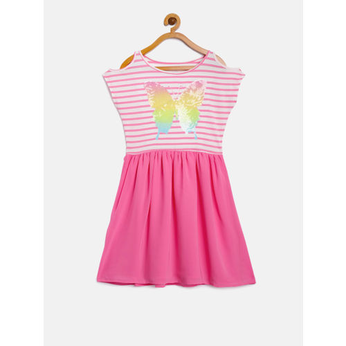 The Childrens Place Girls Pink Fit and Flare Dress