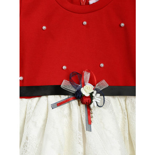 Peppermint Girls Red & Off-White Embellished Fit and Flare Dress