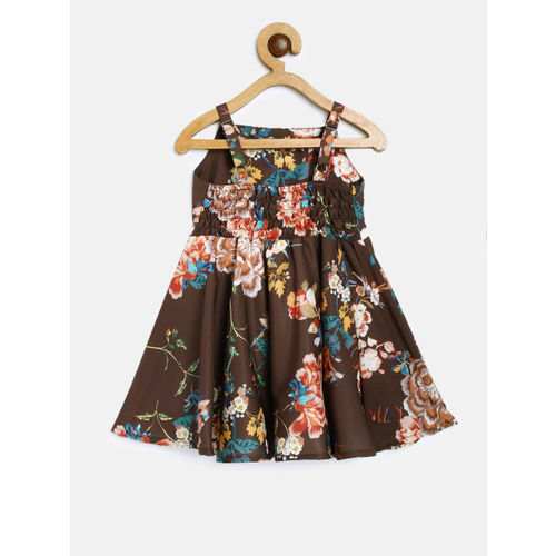 Peppermint Girls Brown Printed Fit and Flare Dress with Shrug