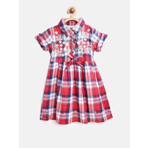 Bella Moda Girls Red & White Checked Shirt Dress