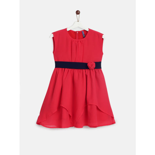 YK Girls Red Solid Fit and Flare Dress