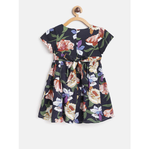 Kids On Board Girls Navy Blue & White Printed Fit & Flare Dress