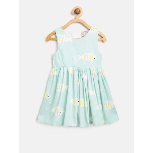 Kids On Board Girls Sea Green & Off-White Printed Fit & Flare Dress