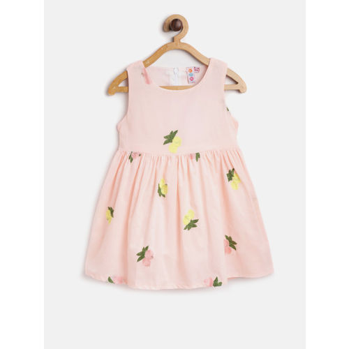 Kids On Board Girls Pink & Yellow Embroidered Fit and Flare Dress