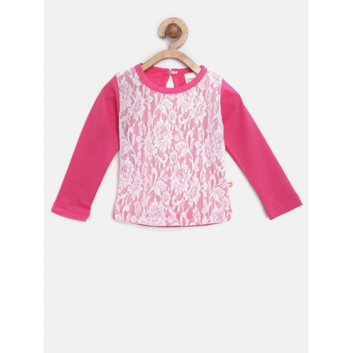 612 league Pink & White Cotton Knitted Casual Top