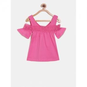 612 league Pink Cotton Solid Cold Shoulder Top