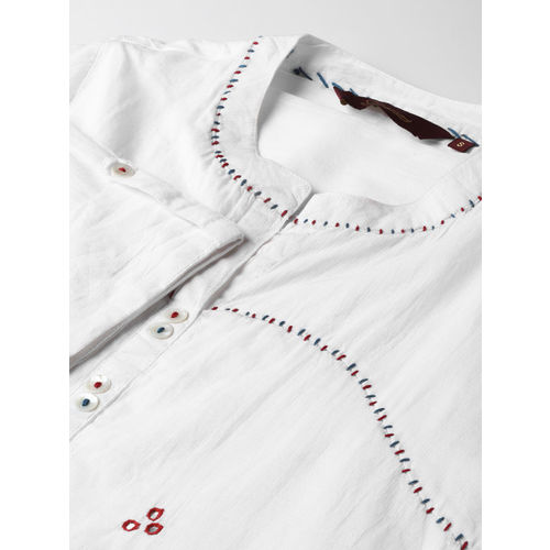 Sangria Women Off-White Embellished Shirt Style Top