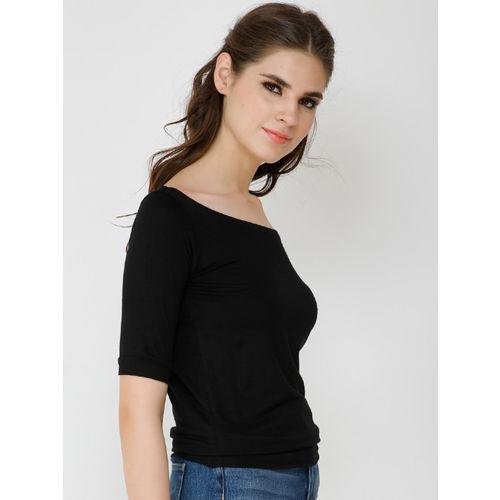 Cation Women Black Solid Bardot Top