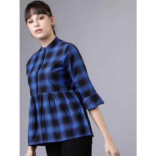 Tokyo Talkies Women Blue & Black Checked Shirt Style Top