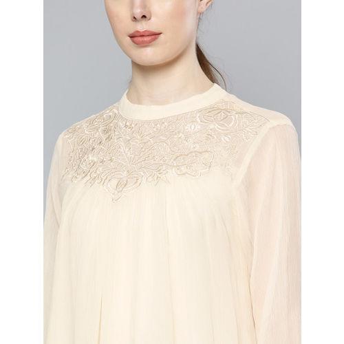 Label Ritu Kumar Women Off-White Embroidered Detail Layered Semi-Sheer A-Line Top