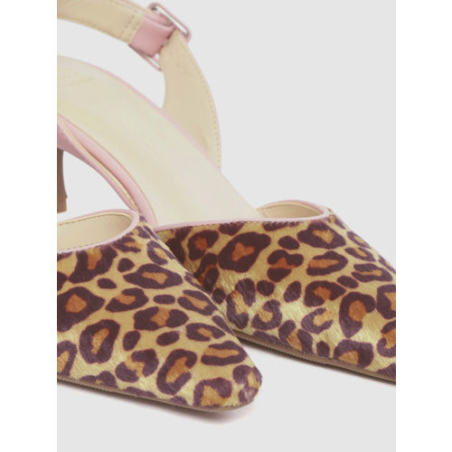 Marks & Spencer Women Brown & Mustard Yellow Leopard Print Pumps