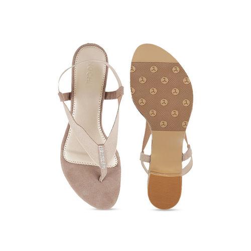 Mochi Women Beige Solid Sandals