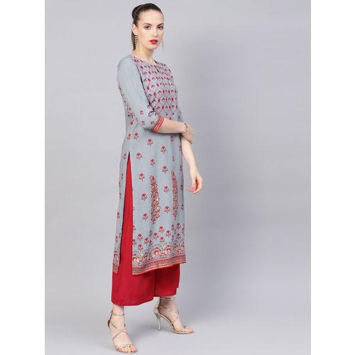 Libas Women Grey & Red Printed Straight Kurta