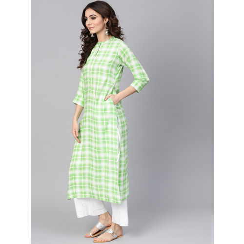 Buy Libas Women Green & White Checked Straight Kurta online