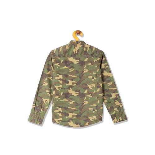 Flying Machine Kids Olive Camouflage Print Shirt
