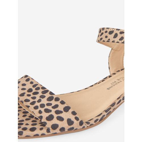 DOROTHY PERKINS Women Beige & Black Animal Print Block Heels