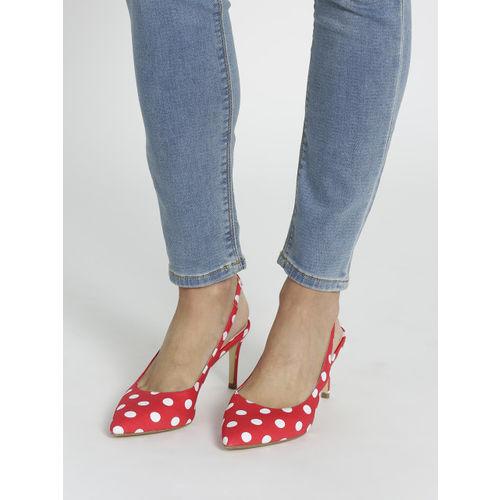 Lavie Women Red & White Polka Dot Print Heels