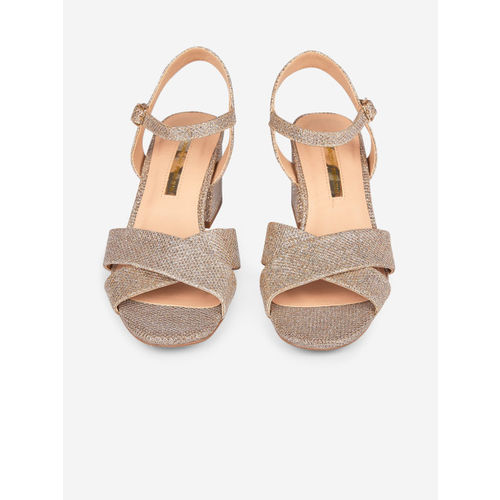 DOROTHY PERKINS Women Gold-Toned Shimmer Block Heels