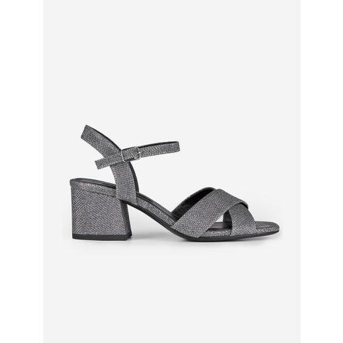 DOROTHY PERKINS Women Gunmetal-Toned Shimmer Block Heels