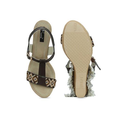 Kielz Women Coffee Brown Printed Heels