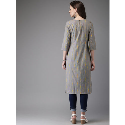 Anouk Women Grey & Yellow Printed Straight Kurta