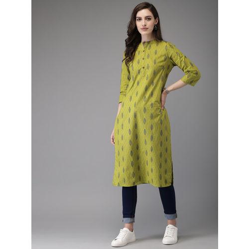 Anouk Women Green & Brown Printed Straight Kurta