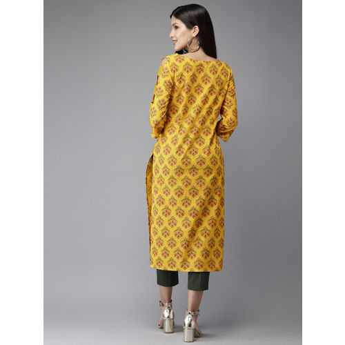 Anouk Women Yellow Printed A-Line Kurta