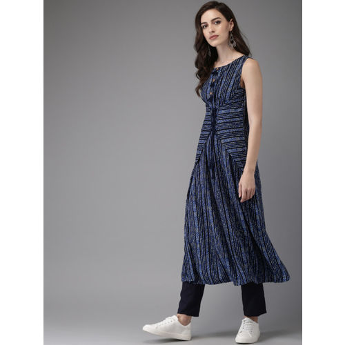 Anouk Women Navy Blue Striped A-Line Kurta with Trousers