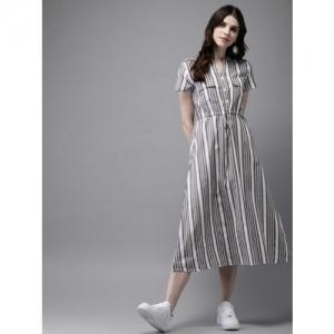 Anouk Women Grey & White Striped A-Line Fusion Kurta