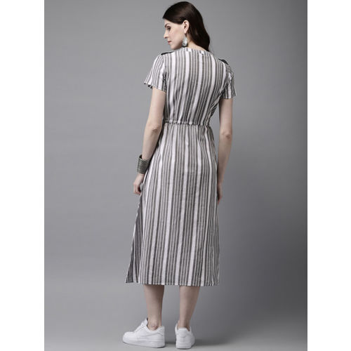 Anouk Women Grey & White Striped A-Line Fusion Kurta