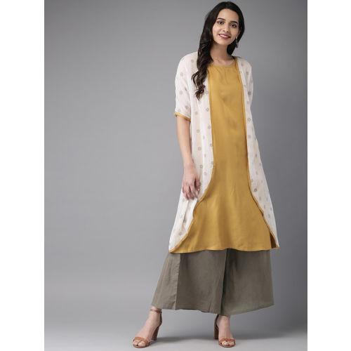 Anouk Women Mustard Yellow Solid Layered Kurta with Palazzos