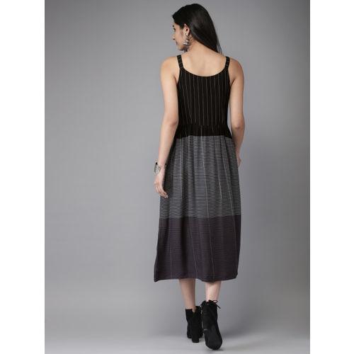 Anouk Women Black & White Striped A-Line Fusion Kurta