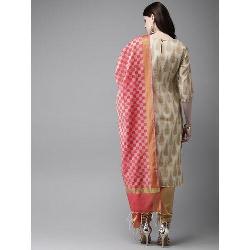 Anouk Women Off-White & Beige Self Design Kurta With Churidar & Dupatta