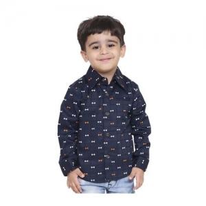 Nauti Nati Kids Navy Printed Shirt