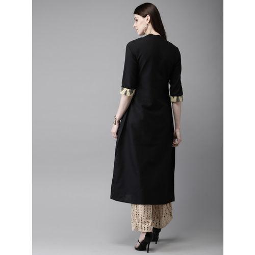 Anouk Women Black & Beige Printed A-Line Layered Kurta