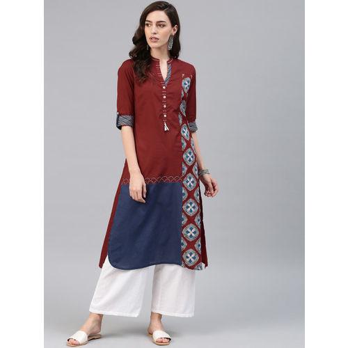 Biba Women Rust Red & Navy Blue Printed Straight Kurta