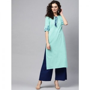 Nayo Blue Solid Straight Kurta