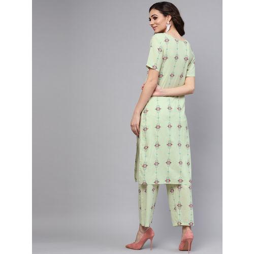 Nayo Women Green & Pink Printed Kurta with Trousers