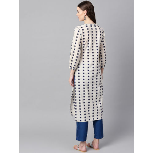 Nayo Women Off-White & Navy Blue Printed Straight Kurta