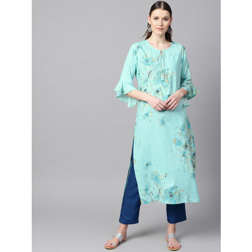 Nayo Blue & Golden Foil Print Straight Kurta
