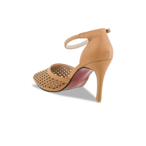 Sherrif Shoes Women Tan Brown Solid Heels
