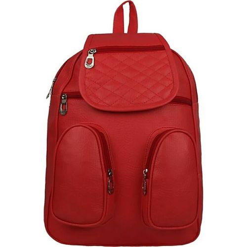 Mithraj Studded Casual Purse Fashion School Leather Backpack Shoulder Bag Mini Backpack for Women & Girls (RED) (red)