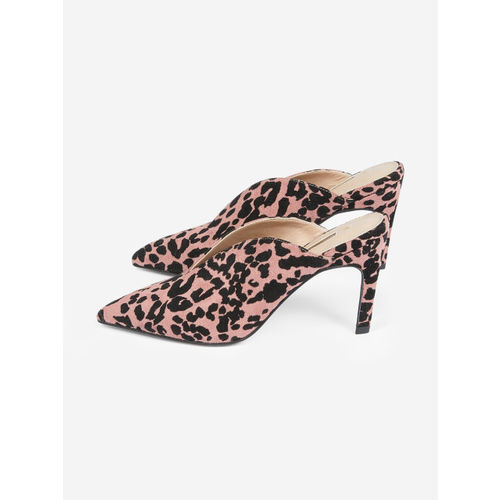 DOROTHY PERKINS Women Dusty Pink & Black Leopard Print Heeled Mules