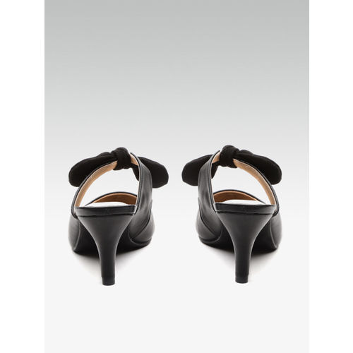 Carlton London Women Black Solid Heels with Bow Detail