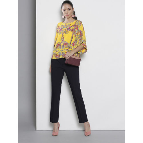 DOROTHY PERKINS Women Yellow & Pink Printed Top