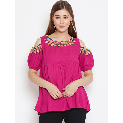FIZERA Women Pink Solid Top